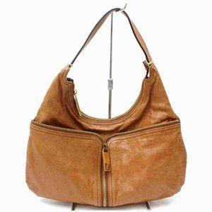 Auth Fendi Hobo Light Brown Leather #7030F76